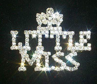 Pins - Pageant & Crown #11888 Rhinestone Little Miss with Crown Pin