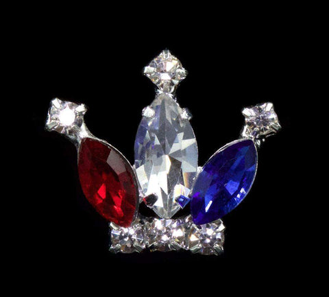 Pins - Pageant & Crown #11891RWB Rhinestone Crown Pin - Red White and Blue