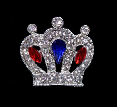 Pins - Pageant & Crown #14669RWB - Cluster Royal Crown Pin - Red White and Blue