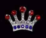 "Pins - Pageant & Crown #16061RWB - High Ruler Crown Pin - 1"" Tall - Red White and Blue"