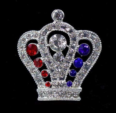 "Pins - Pageant & Crown #16064RWB - Regal Crown Pin - 1.5"" Tall - Red White and Blue"