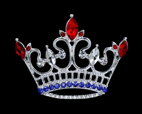 Pins - Pageant & Crown #16125RWB - Kings Point Crown Pin - Red White and Blue