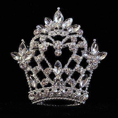 Pins - Pageant & Crown #16131 - Navette Topped Heart Crown Pin