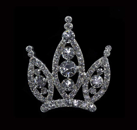 Pins - Pageant & Crown #16676 - Rivoli Burst Crown Pin