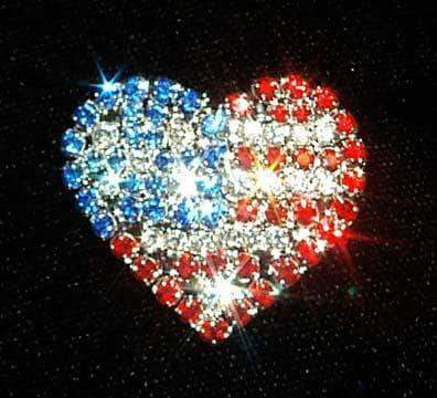 Pins - Patrioitic & Support #11912 USA Flag on Heart Pin