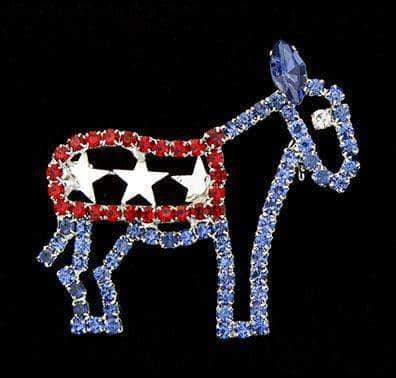 Pins - Patrioitic & Support #14440 - Red White and Blue Democrat Donkey Pin