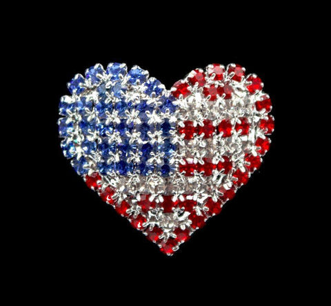 Pins - Patrioitic & Support #17182 USA Flag on Heart Pin