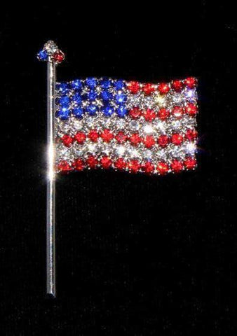 Pins - Patrioitic & Support #7489 Lg - Large Rhinestone Flag Pin