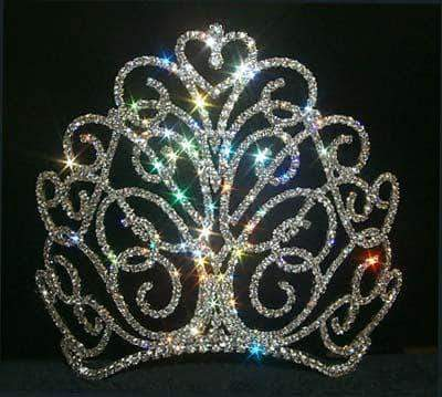 "Tiaras & Crowns over 6"" #11867LGS - Large Flourishing Heart Tiara  - Contoured Base - Silver"