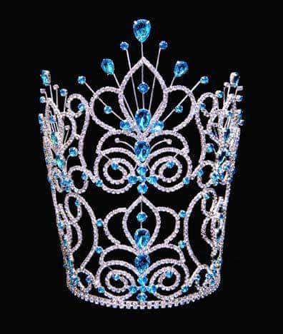 "Tiaras & Crowns over 6"" #16111 - Maus Spray Crown - Aqua - 10"""