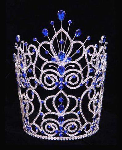 "Tiaras & Crowns over 6"" #16111 - Maus Spray Crown - Sapphire - 10"""
