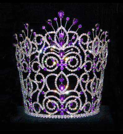 "Tiaras & Crowns over 6"" #16275 - Maus Spray Crown - Amethyst - 8"""