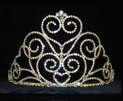 "Tiaras & Crowns up to 6"" #12551G Victorian Heart Tiara - Small - Gold Plated"