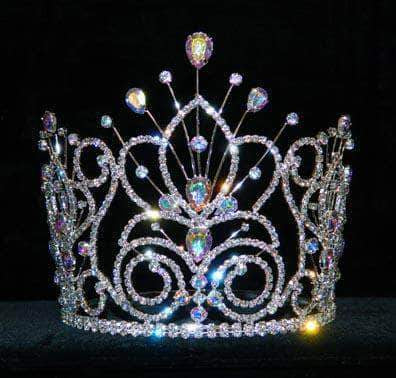 "Tiaras & Crowns up to 6"" #16109 - Maus Spray Crown - AB Silver- 6"""