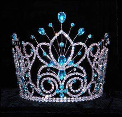 "Tiaras & Crowns up to 6"" #16109 - Maus Spray Crown - Aqua- 6"""
