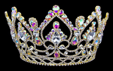 "Tiaras & Crowns up to 6"" #16327abg - AB Arch Tiara with Combs 5.75"" - Gold"