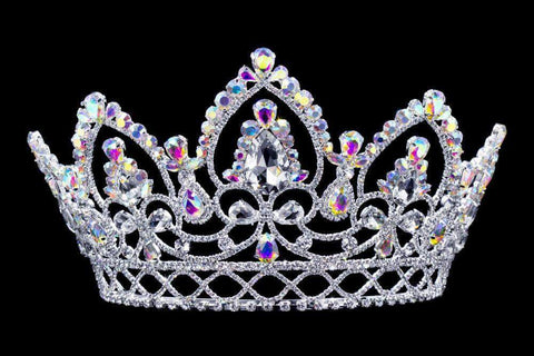 "Tiaras & Crowns up to 6"" #16779abs - AB Arch Tiara with Combs Silver Plated- 4.75"""