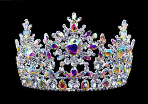 "Tiaras & Crowns up to 6"" #16802abs AB Snowflake Tiara with Combs 5.5"""