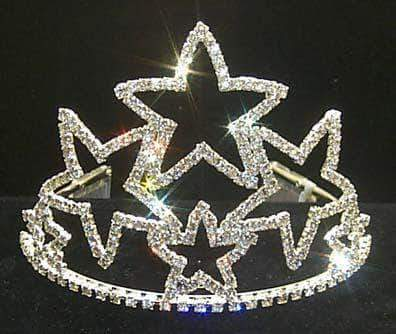 "Tiaras & Crowns up to 6"" 4 1/8"" Stacked Star Tiara #11472"