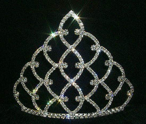 "Tiaras & Crowns up to 6"" 5"" Traditional Rhinestone Crown -  Silver #11186S"
