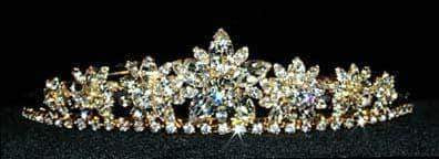 "Tiaras up to 1.5"" #12608 Marquis Flower Tiara - Gold Plated"