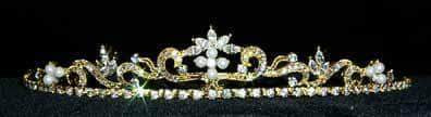 "Tiaras up to 1"" Dainty Swirl Pearl Tiara - #11109G Gold Plated"