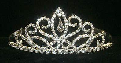 "Tiaras up to 2"" #12044 Fancy Navette Pear Drop Tiara"