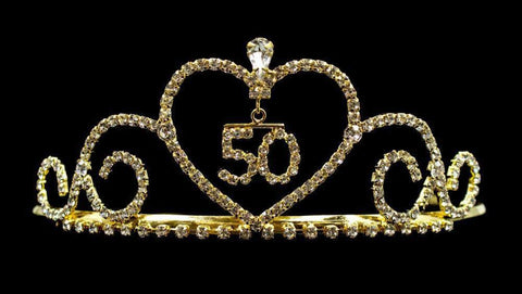 "Tiaras up to 2"" #13349-50G - Sweetheart - #50 - Gold Plated"
