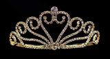 "Tiaras up to 2"" #15943g - Joining Wave Heart Tiara - Gold Plated"
