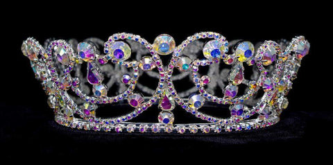 "Tiaras up to 3"" #13565AB - Jewelled Wave Crown - AB Stones"
