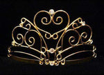"Tiaras up to 3"" #15745G - Heartfelt Wave Tiara with Rhinestones and Combs - Gold Plated"