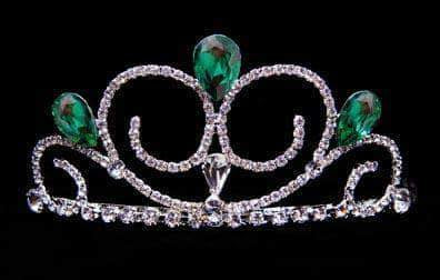 "Tiaras up to 3"" #16039EMERALD - Gentle Breeze Tiara - EMERALD"