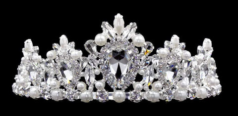 "Tiaras up to 3"" #16553 - Pearl Cluster Tiara with Combs 3"" Tall"