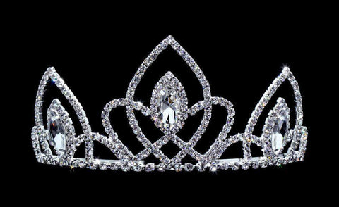 "Tiaras up to 3"" #16651 - Vaulted Navette Tiara with Combs - 3"""