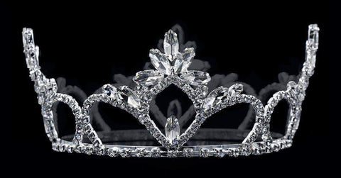 "Tiaras up to 3"" #16666 - Flaired Navette Fixed Crown with Rings - 2.5"" Tall"