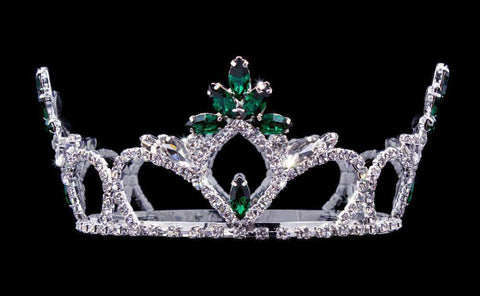 "Tiaras up to 3"" #16880 - Forestry Flaired Navette Fixed Crown with Rings - 2.5"" Tall"