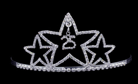 "Tiaras up to 3"" #17083 - Star - 25th Anniversary or Birthday Tiara with Combs"