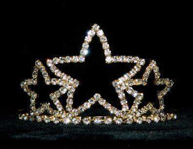 "Tiaras up to 3"" Triple Star Tiara #11387G - Gold Plated"