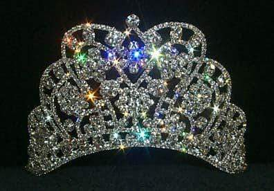 "Tiaras up to 4"" #11914 Large Butterfly Cluster Tiara  - Contoured Base"