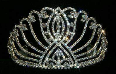 "Tiaras up to 4"" #12501 Large Intersecting Scroll Tiara - Flat Base"
