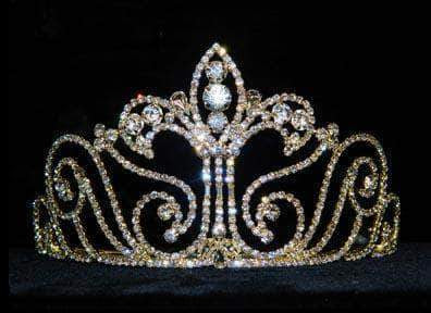 "Tiaras up to 4"" #12738G Medium Fleur Di Lis Tiara - Gold Plated"