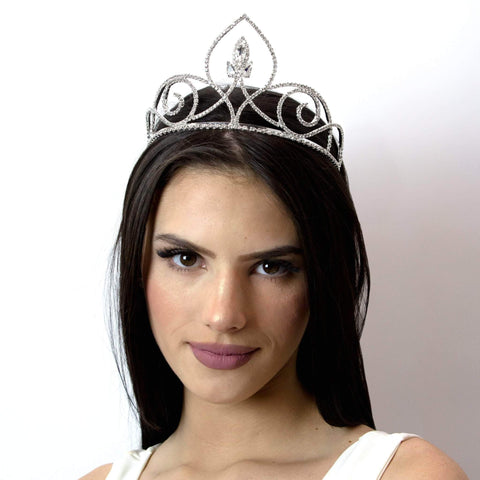 "Tiaras up to 4"" #14085 PointedNavette Tiara with Combs - 3.25"""