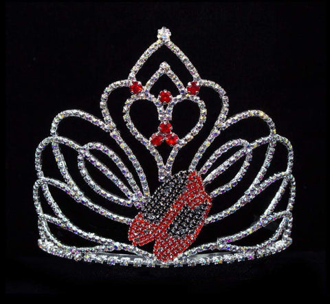 "Tiaras up to 4"" #16518 - Ruby Red Slipper Tiara with Combs - 4"" - Limited Quantity"