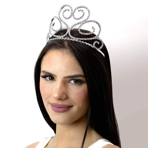 "Tiaras up to 4"" #16738 - Flowing Heart Tiara with Combs - 3.5"""