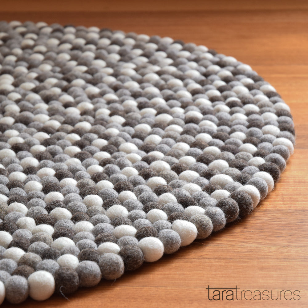 Felt Ball Rug - Pebbles 100cm - Tara Treasures