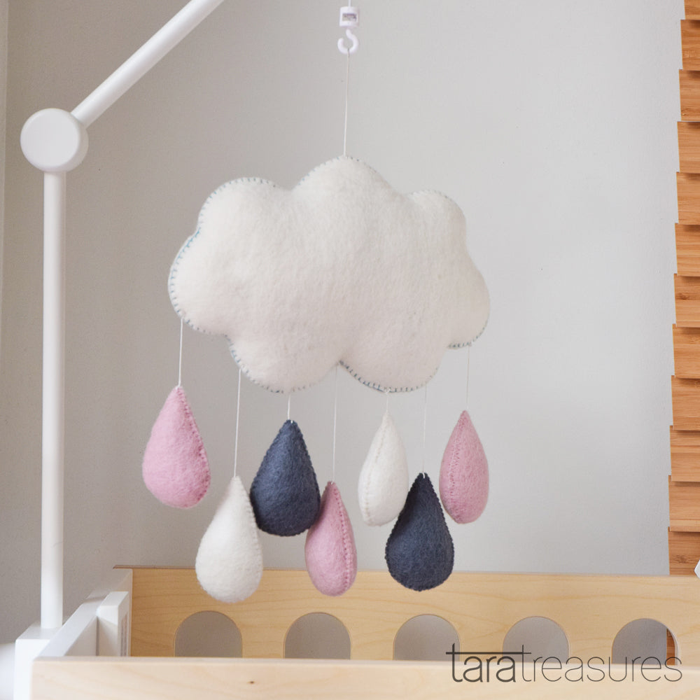 Cloud Nursery Mobile - Pink and Grey Raindrops - Tara Treasures
