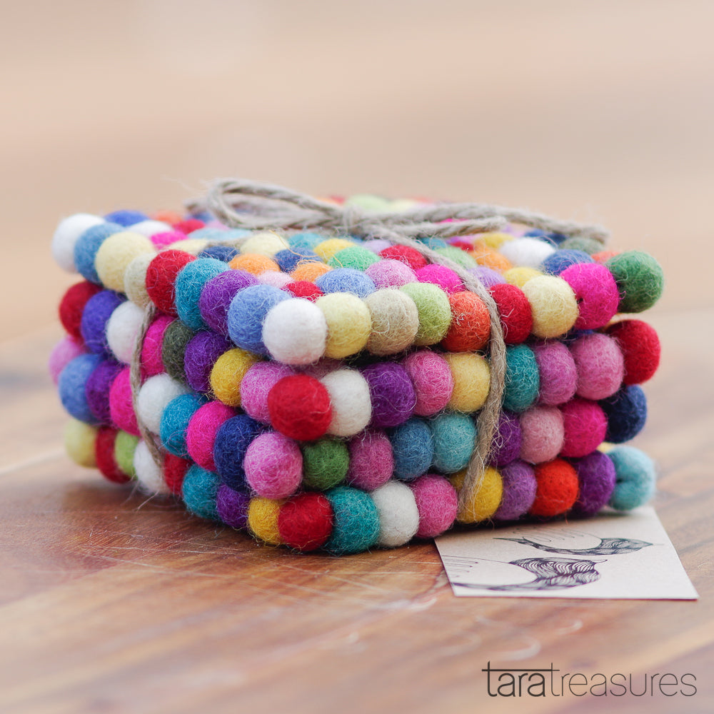 Cup Coasters - Square Colourful Bundle of 4 - Tara Treasures