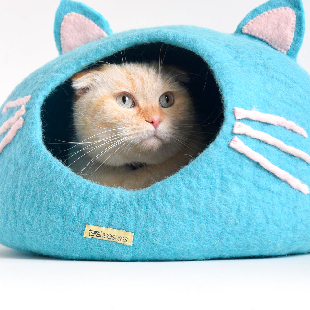 Cat Cave - Cat Head Blue - Tara Treasures