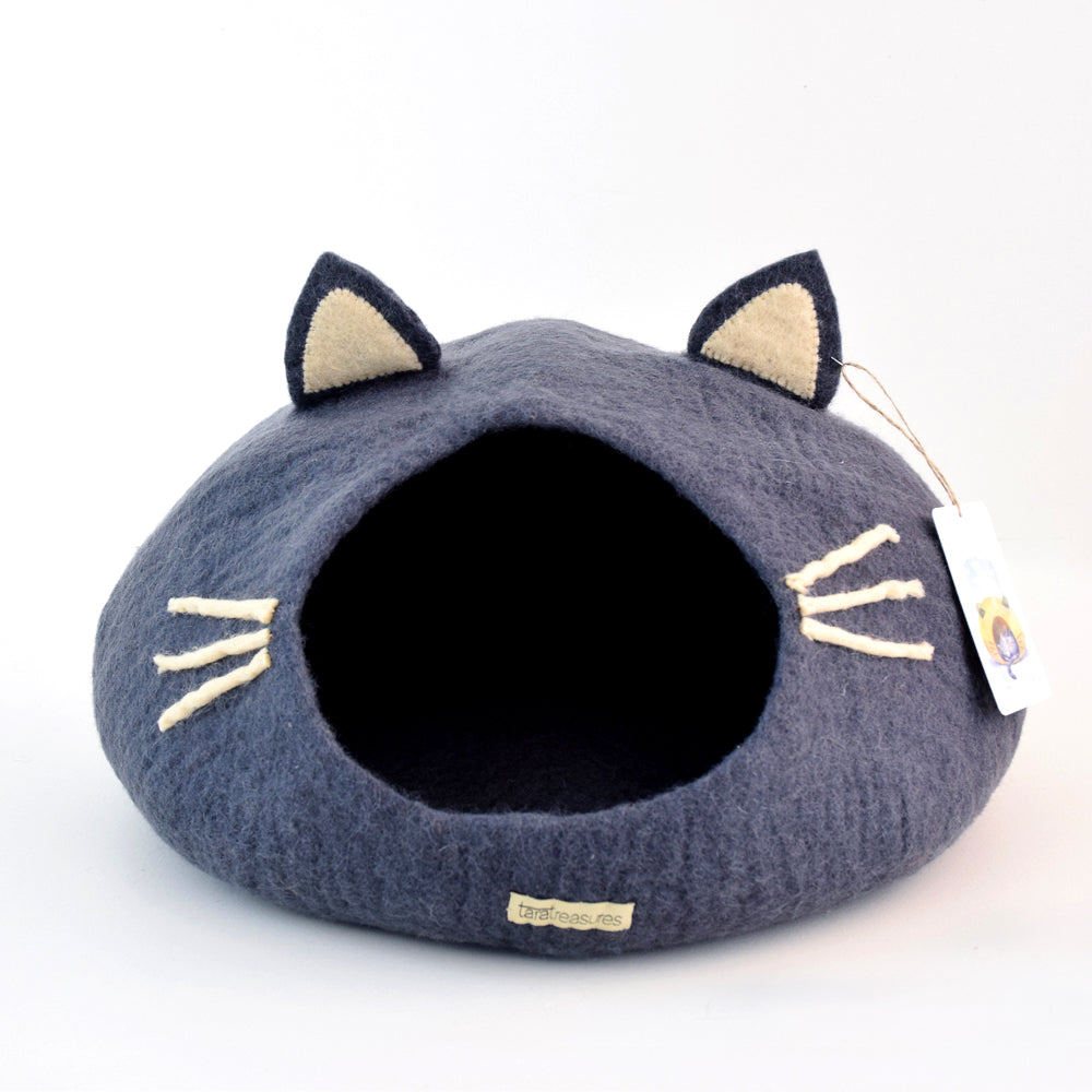 Cat Cave - Cat Head Dark Grey - Tara Treasures