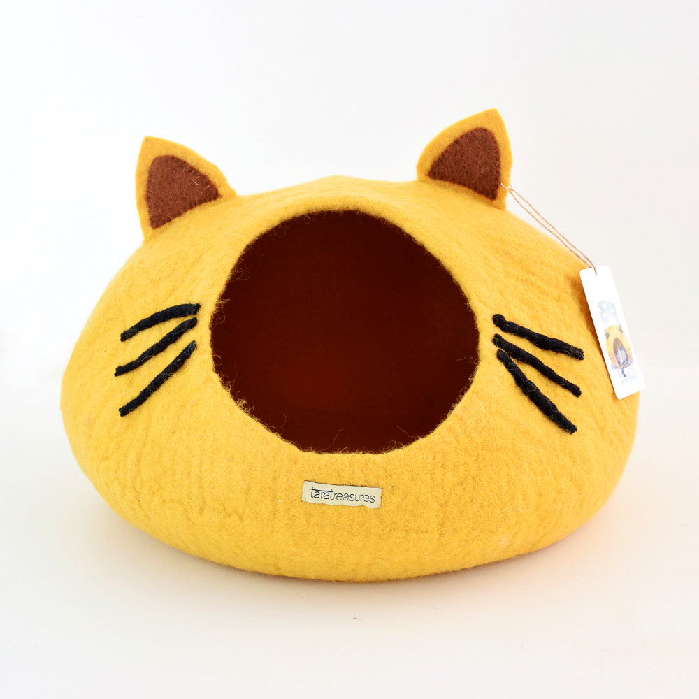 Cat Cave - Cat Head Yellow - Tara Treasures